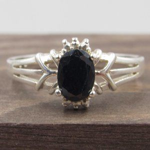 Size 8 Sterling Silver Dark Sapphire Gem Band Ring